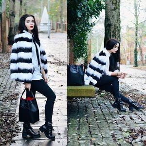 ASOS Story of Lola Faux Fur Striped Coat